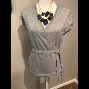 J Crew gray wrap short sleeve sweater. NWOT Size M